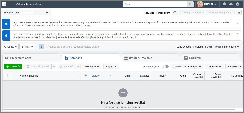 administreaza reclame facebook