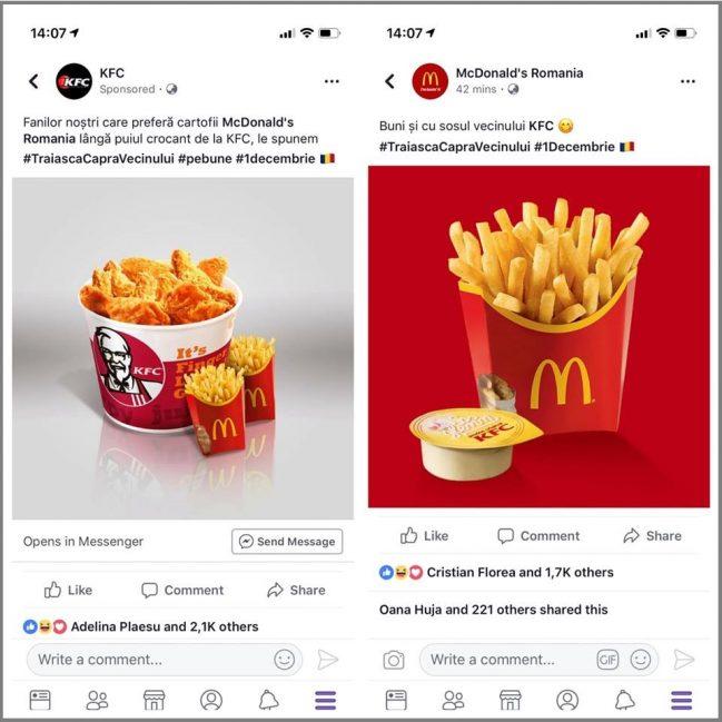 campanie facebook kfc mcdonalds
