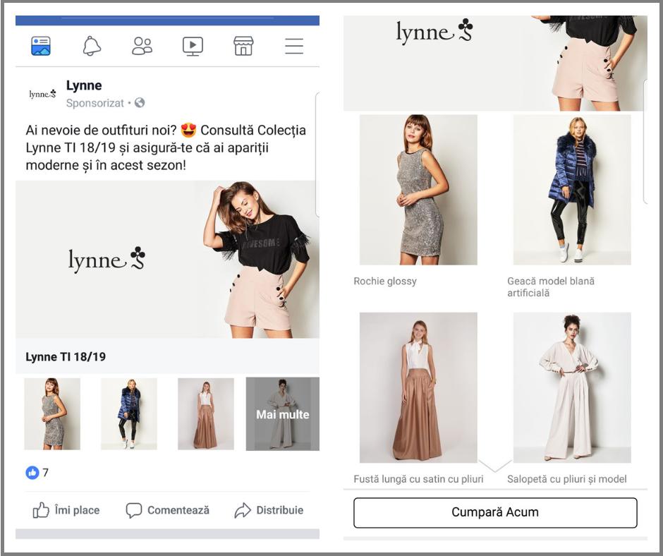 reclama facebook in format colectie