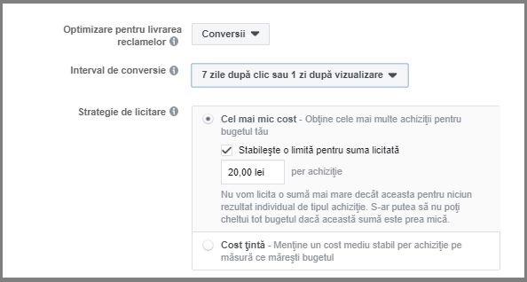 setare buget facebook cel mai mic cost