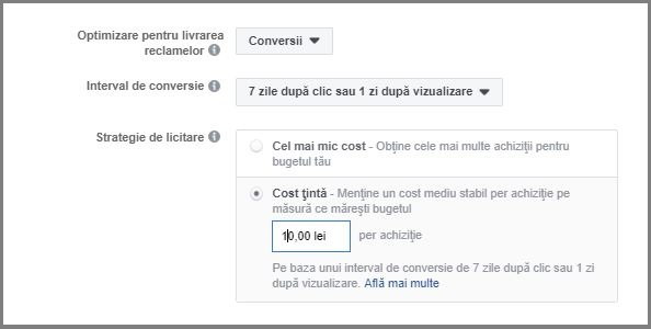 setare buget facebook cost tinta