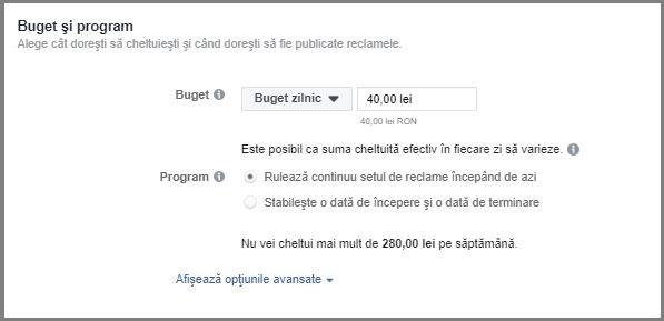 setare buget facebook