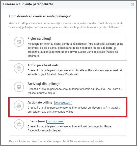 targetare facebook activitate offline